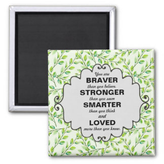 Green Leaves and Branches Words of Encouragement Magnet