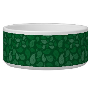 Green leaves dog water bowl