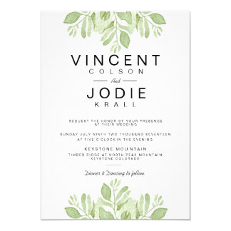 Green Leaves Duo | Watercolor Wedding Invite