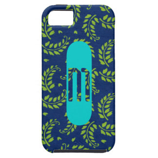 Green Leaves Fronds on Blue iPhone Case w/ Initial