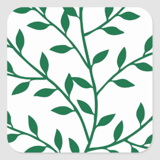 Green leaves green olive branch leaf decor square sticker