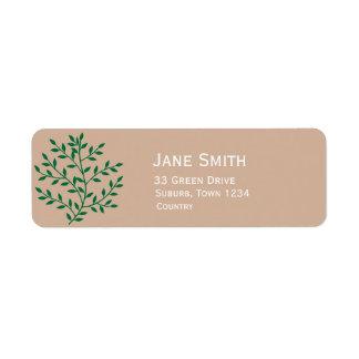 Green leaves greenie environmentalist return address label