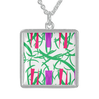 Green Leaves Hot Red Chili Silver Square Necklace
