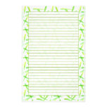 Green Leaves Lined Stationery Paper Watercolor Art