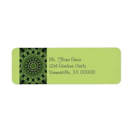 Green Leaves Mandala Return Address Label