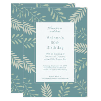 Green Leaves Natural Garden 50th Birthday Party Card