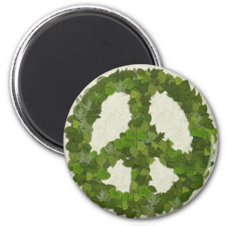 Green Leaves Of Peace 6 Cm Round Magnet