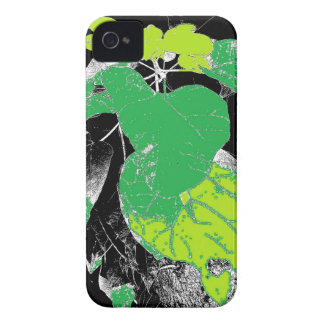 Green Leaves on Black iPhone 4 Case-Mate Case