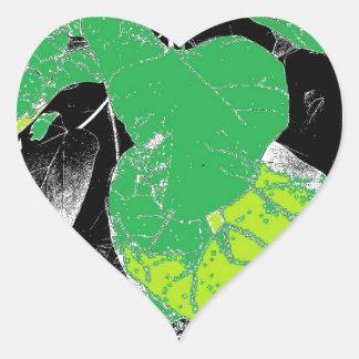 Green Leaves on Black Heart Sticker