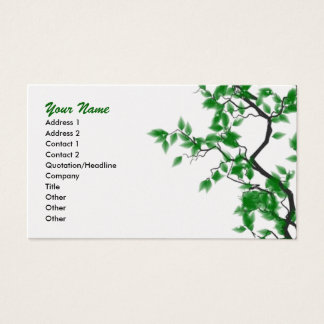 Green Leaves On Gold Professional Business Cards