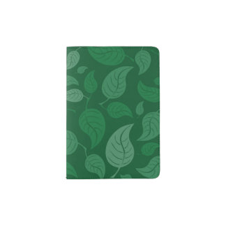Green leaves passport holder