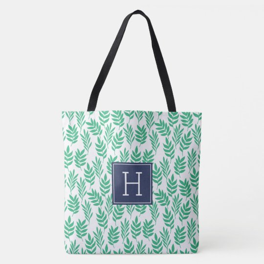 Green Leaves Pattern and Blue Monogram Tote Bag