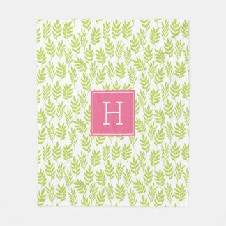 Green Leaves Pattern and Pink Monogram Fleece Blanket
