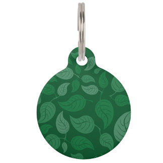 Green leaves pet ID tag