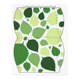 Green leaves Pillow Puff Box Template 21.5 Cm X 28 Cm Flyer