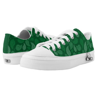 Green leaves printed shoes