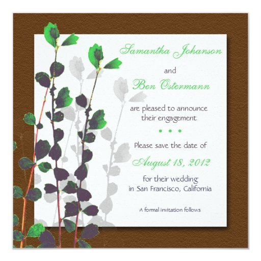 Green Leaves - save the date cards. 13 Cm X 13 Cm Square Invitation Card