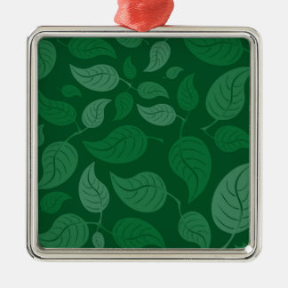Green leaves Silver-Colored square decoration