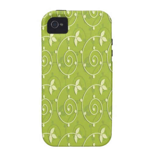 Green Leaves Swirls Vibe iPhone 4 Case