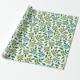 Green leaves. Watercolor floral. Summer botanical Wrapping Paper
