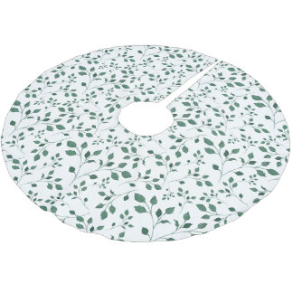 Green leaves watercolor Pattern | Christmas Brushed Polyester Tree Skirt