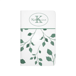 Green leaves watercolor Pattern | Monogram Journal