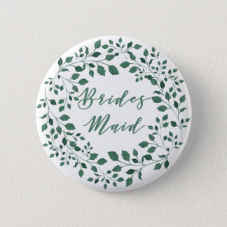 Green leaves watercolor wreath | Bridesmaid 6 Cm Round Badge