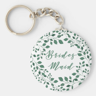 Green leaves watercolor wreath | Bridesmaid Key Ring