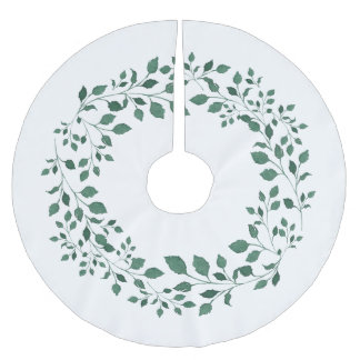 Green leaves watercolor wreath brushed polyester tree skirt