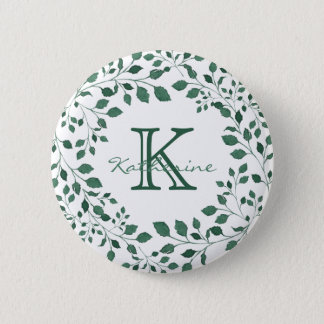 Green leaves watercolor wreath | Monogram 6 Cm Round Badge