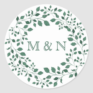 Green Leaves Watercolor Wreath Monogram Classic Round Sticker