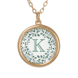 Green leaves watercolor wreath | Monogram Gold Plated Necklace