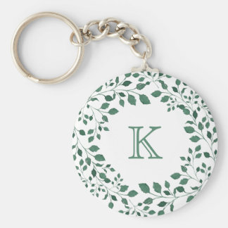 Green leaves watercolor wreath | Monogram Key Ring