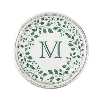 Green leaves watercolor wreath   Monogram Lapel Pin