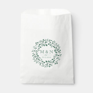Green leaves watercolor wreath | Monogram Wedding Favour Bags
