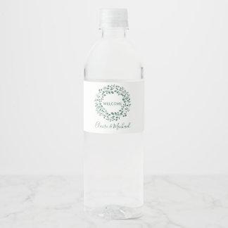 Green leaves watercolor wreath | Welcome Wedding Water Bottle Label