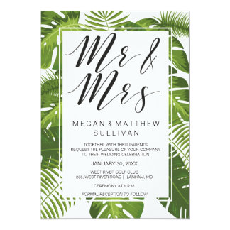 Green leaves wedding invitation card | Mr and Mrs