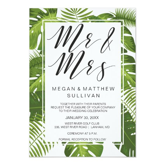 Green leaves wedding invitation card | Mr and