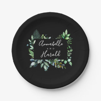 Green Leaves | Woodland Greenery | Black Paper Plate