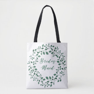 Green leaves wreath | Bridesmaid Tote Bag