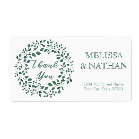 Green leaves wreath | Thank You | Wedding Label