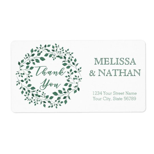 Green leaves wreath   Thank You   Wedding Label Shipping Label