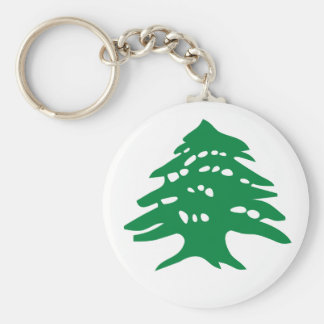 Green Lebanon Cedar Tree Basic Round Button Key Ring