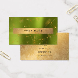 Green Lemon Gold Grungy Dandelion Confetti Vip Business Card