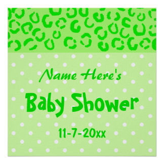 Green Leopard and Polka Dot Baby Shower Print