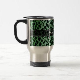 Green Leopard Animal Print Custom Travel Mug