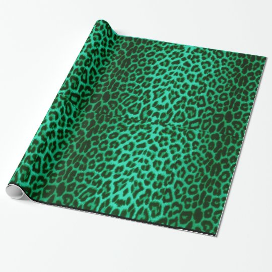 Green Leopard Festive Animal Print Wrapping Paper