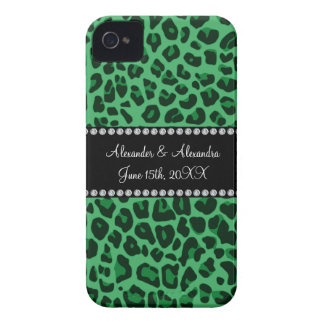 Green leopard pattern wedding favors iPhone 4 Case-Mate cases