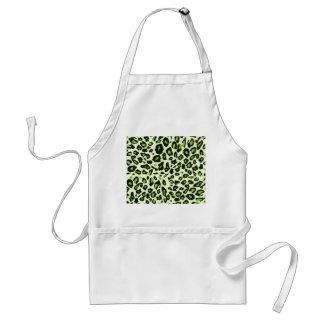 Green leopard print adult apron