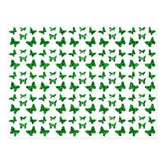 Green Leopard Print Butterfly Pattern Postcard